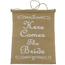 Celebrate It Occasions Here Comes the Bride Burlap Banner